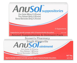 Anusol Ointment 50g & Suppositories 12 Duo Pack Haemorrhoidal Discomfort Relief