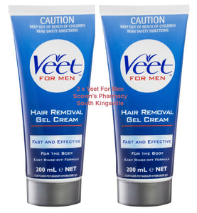 2 x Veet For Men Body Hair Removal Gel Cream Easy Rinse-off Formula Value Pack