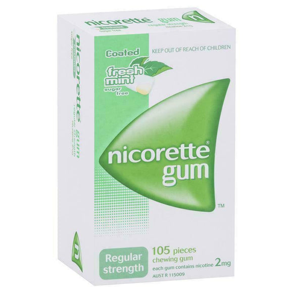 Nicorette Gum Regular Strength 2mg Nicotine Freshmint 105 Pack