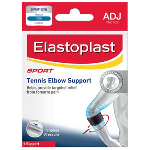 Elastoplast Sport Tennis Elbow With Strap Golf Support Black Relief Forearm Pain