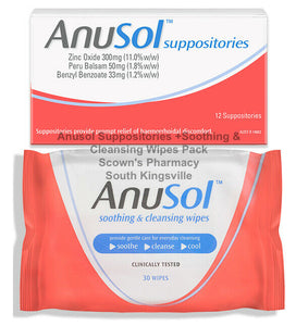 Anusol Suppositories 12 + Soothing & Cleaning Wipes 30 Pack Haemorrhoidal Relief