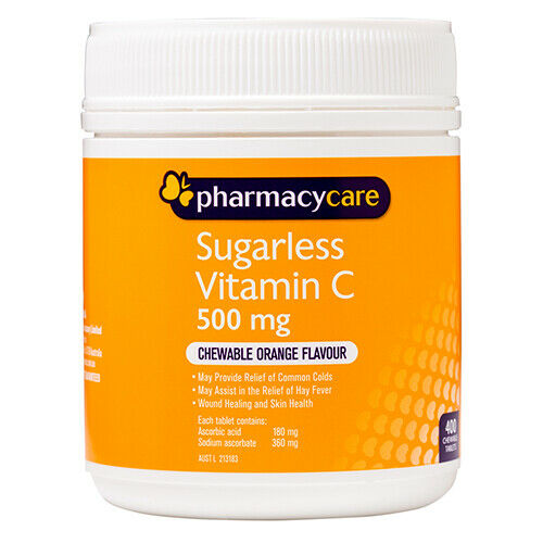 Pharmacy Care Vitamin C Sugarless 400 Tablets Orange Flavour