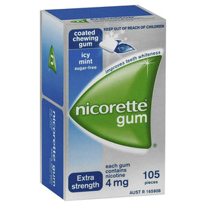 Nicorette Gum Extra Strength Coated Icy Mint 4mg 105 Pack