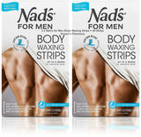 2 x Original Nad's for Men Hair Removal Body Waxing Strips 40 Strips + Oil Wipes