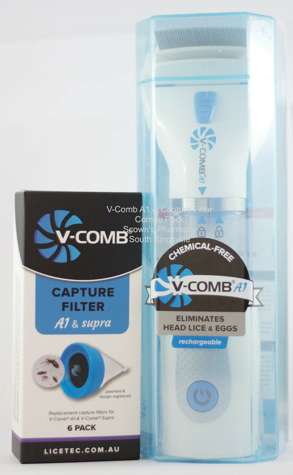 Licetec V-Comb A1 Rechargeable & 6 Filters Duo Pack