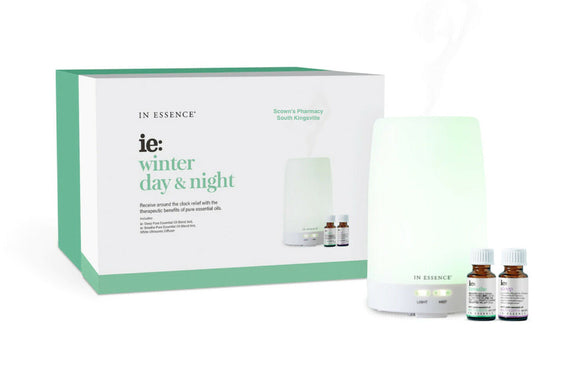 In Essence White Ultrasonic Diffuser Winter Day & Night incl. Sleep & Breathe Oils