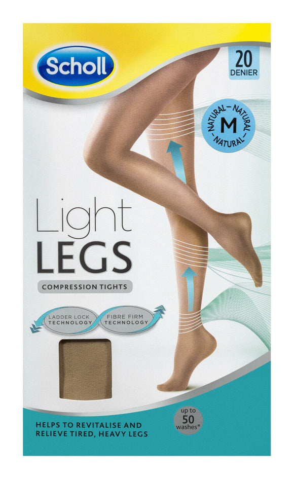 Scholl Light Legs Compression Tights - 20 Denier for Tired Legs Natural Medium