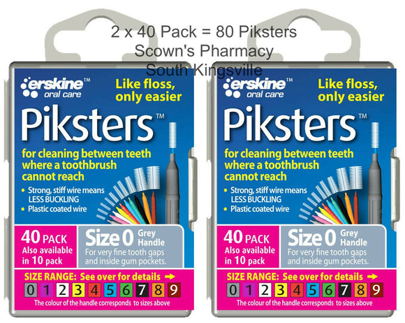 2 x 40 Pack = 80 Piksters Size 0 Interdental GREY Handle Brush Like Floss