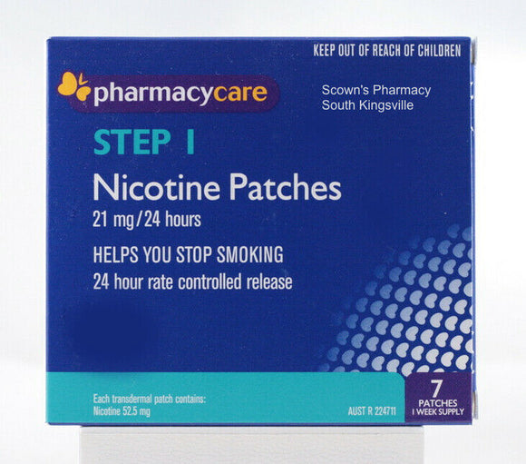 Pharmacy Care Nicotine 7 Patches 21mg 24 Hours Step 1