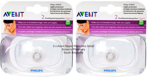 2 x Philips Avent Nipple Protect Small 2 Pack Protects Sore Or Cracked Nipples