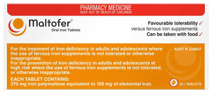 Maltofer Oral Iron 30 Tablets Ferrous Supplement Iron Deficiency Polymaltose