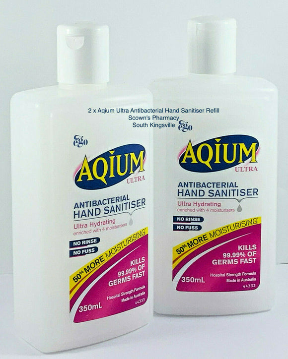 2 x Ego Aqium Antibacterial Hand Sanitiser Ultra 350mL Hospital Strength