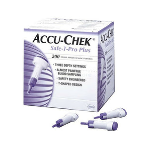 Accu-Chek Safe-T-Pro Plus Safety Lancets 200pk 3 Adjustable Depth Settings NEW