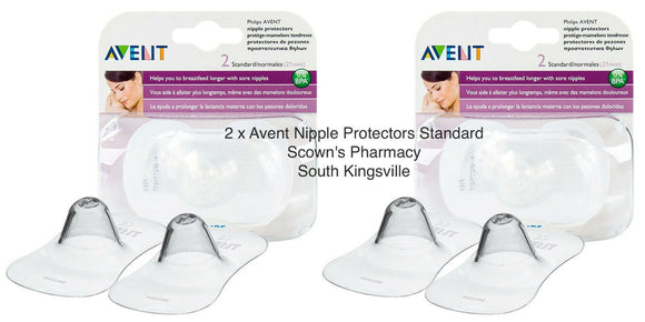 2x Philips Avent Nipple Protect 2 Pck Protect Sore Cracked Nipples Size Standard