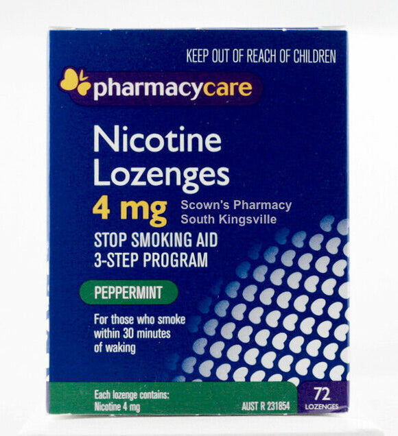 Pharmacy Care Nicotine 4 mg 72 Lozenges Amcal Peppermint Stop Smoking Aid