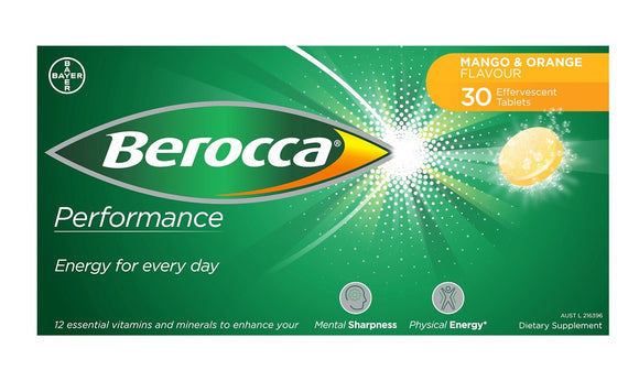 Berocca Performance Mango & Orange Effervescent 30 Tablets