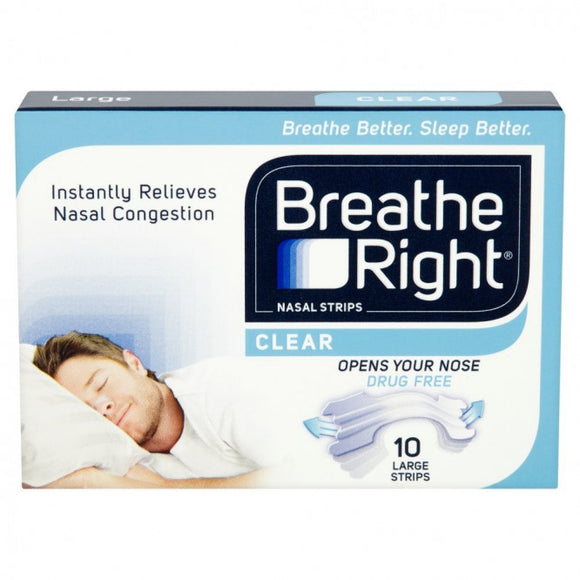 Breathe Right Clear Nasal Strip 10 Pack Size Large