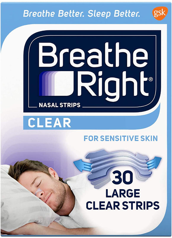 Breathe Right Large Clear Nasal Strip 30 Pack