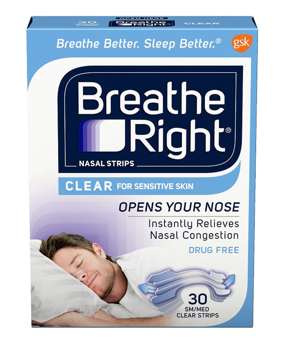 Breathe Right Nasal Strips Clear for Sensitive Skin Small-Medium 30 Pack