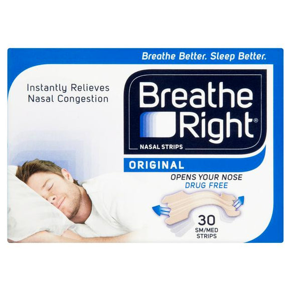Breathe Right Original Nasal Congestion Strips Regular Size 30 Pack