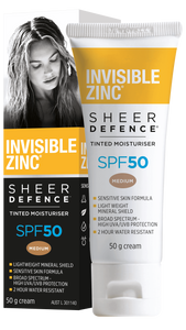 Invisible Zinc Sheer Defence Tinted Moisturiser SPF50 MEDIUM - 50g