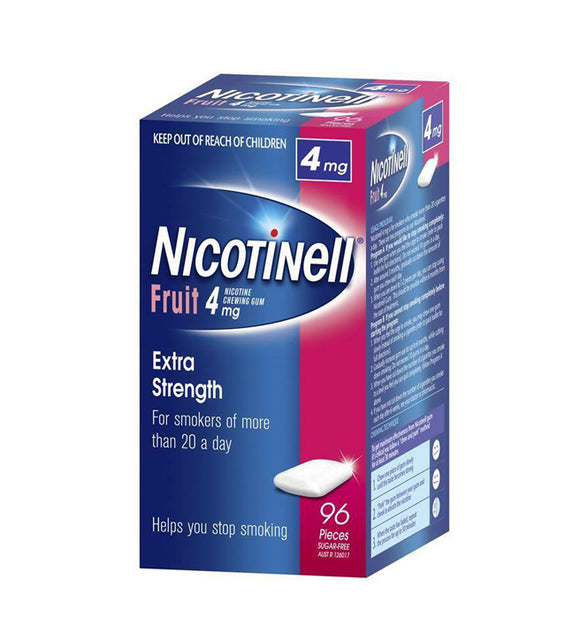Nicotinell® Fruit Flavoured Nicotine Chewing Gum Extra Strength 4mg 96 Pack