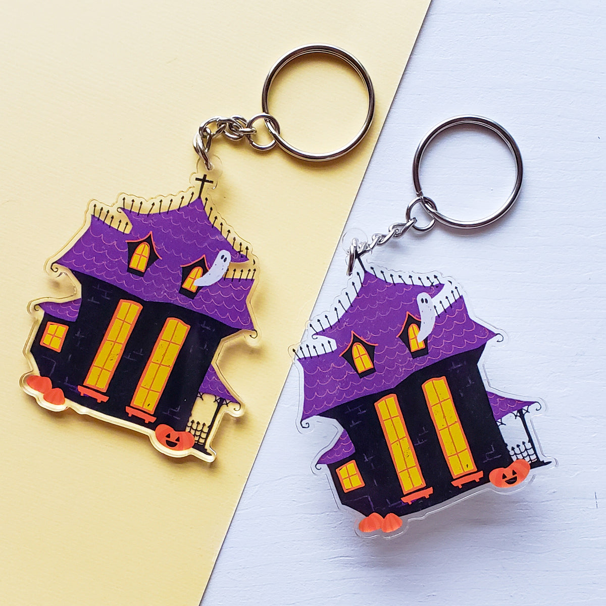 Happy Halloween Haunted House Acrylic Charm Keychain