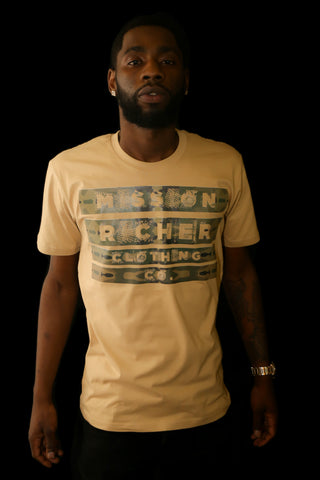 """Inverted Message"" T-shirt in Tan"