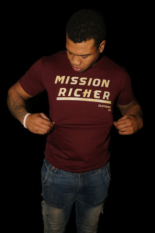 """Underlined Richer"" T-shirt in Burgundy"