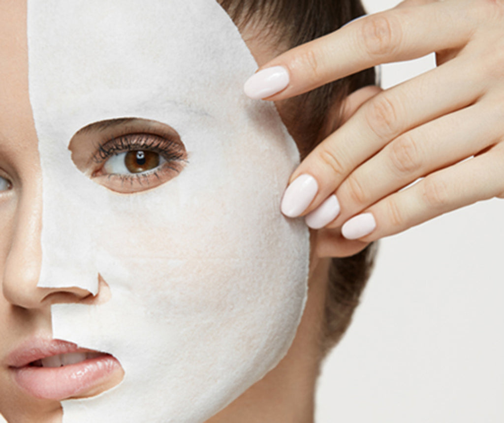 A woman with a sheet mask