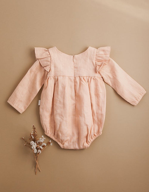 Karibou |  Milana Winged Linen Playsuit - Sweet Peach