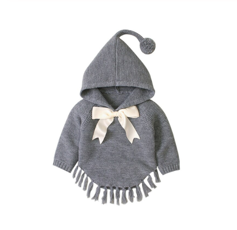 Knitted Winter Poncho - Grey