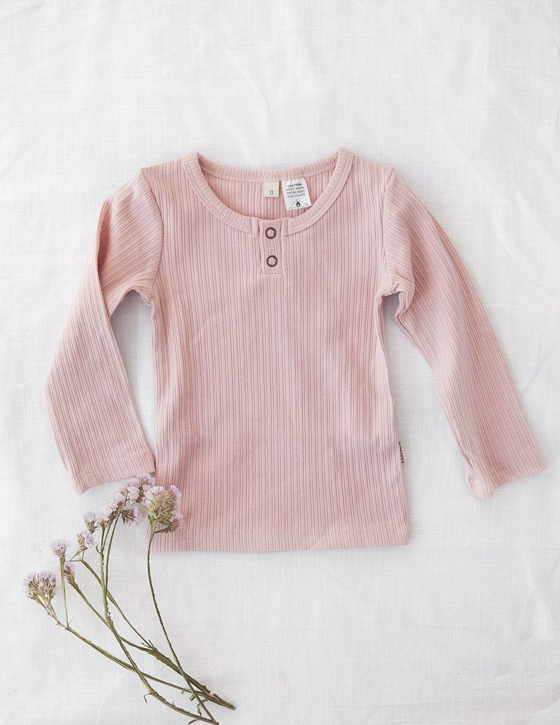 Karibou | Willow Long Sleeve Henley Cotton Top - Soft Pink
