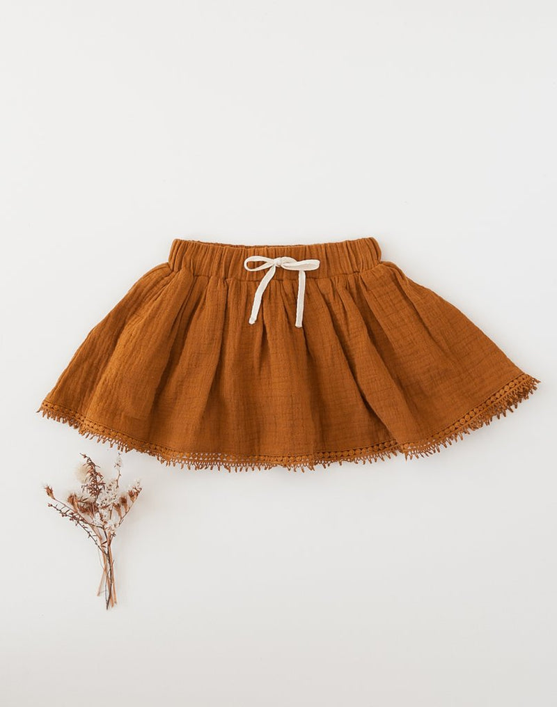 Karibou | Dance and Play Muslin Skirt with Trim - Antique Gold