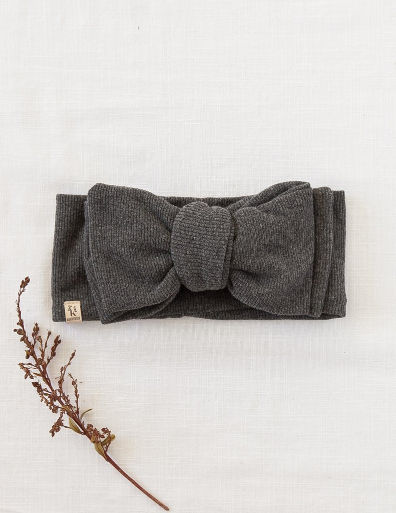 Karibou | Ribbed Oversized Bow Headwrap In Marle Grey