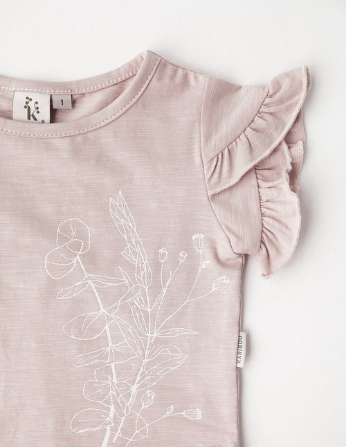 Karibou | Olivia Girls Cotton Slub T-Shirt - Powder Pink