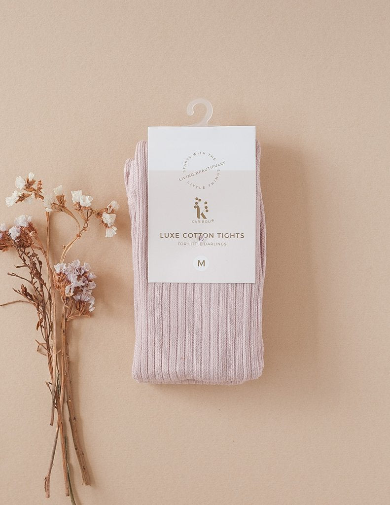 Karibou | Classic Ribbed Tights - Rose Blush