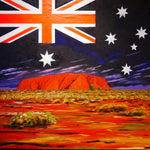 """""""Australian Flag on Ayers Rock"""" DIY Paint by Numbers kit"""