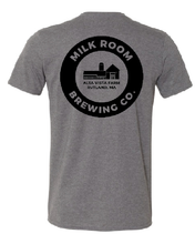 Load image into Gallery viewer, Gray t-shirt featuring the Milk Room Brewing logo back