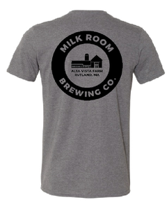 Gray t-shirt featuring the Milk Room Brewing logo back