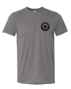 Gray t-shirt featuring the Milk Room Brewing logo
