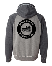 Load image into Gallery viewer, Distressed two tone gray sweatshirt featuring the Milk Room Brewing Logo Back