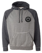 Load image into Gallery viewer, Distressed two tone gray sweatshirt featuring the Milk Room Brewing Logo