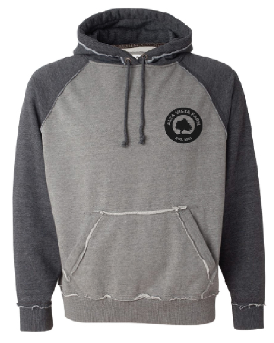 Distressed two tone gray sweatshirt featuring the Milk Room Brewing Logo