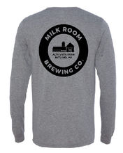 Load image into Gallery viewer, Gray long sleeve t featuring the Milk Room Brewing Logo Back