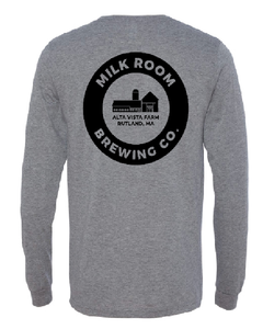 Gray long sleeve t featuring the Milk Room Brewing Logo Back
