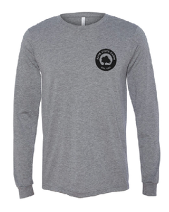 Gray long sleeve t featuring the Milk Room Brewing Logo