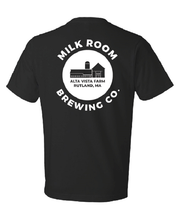 Load image into Gallery viewer, Black Logo T-Shirt Milk Room Brewing Rutland MA