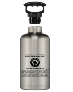 Fifty/fifty stainless growler featuring the Milk Room Brewing logo back
