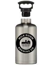 Load image into Gallery viewer, Fifty/fifty stainless growler featuring the Milk Room Brewing logo